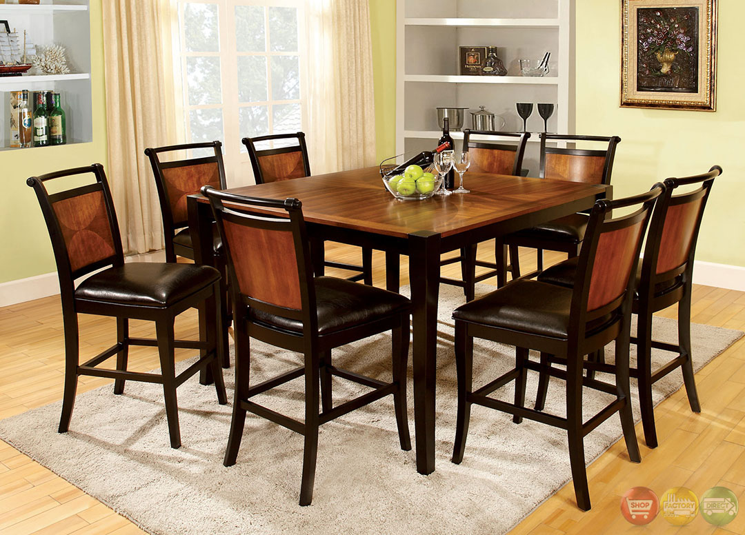 Salida iii acacia and black counter height dining set with for Counter height dining set