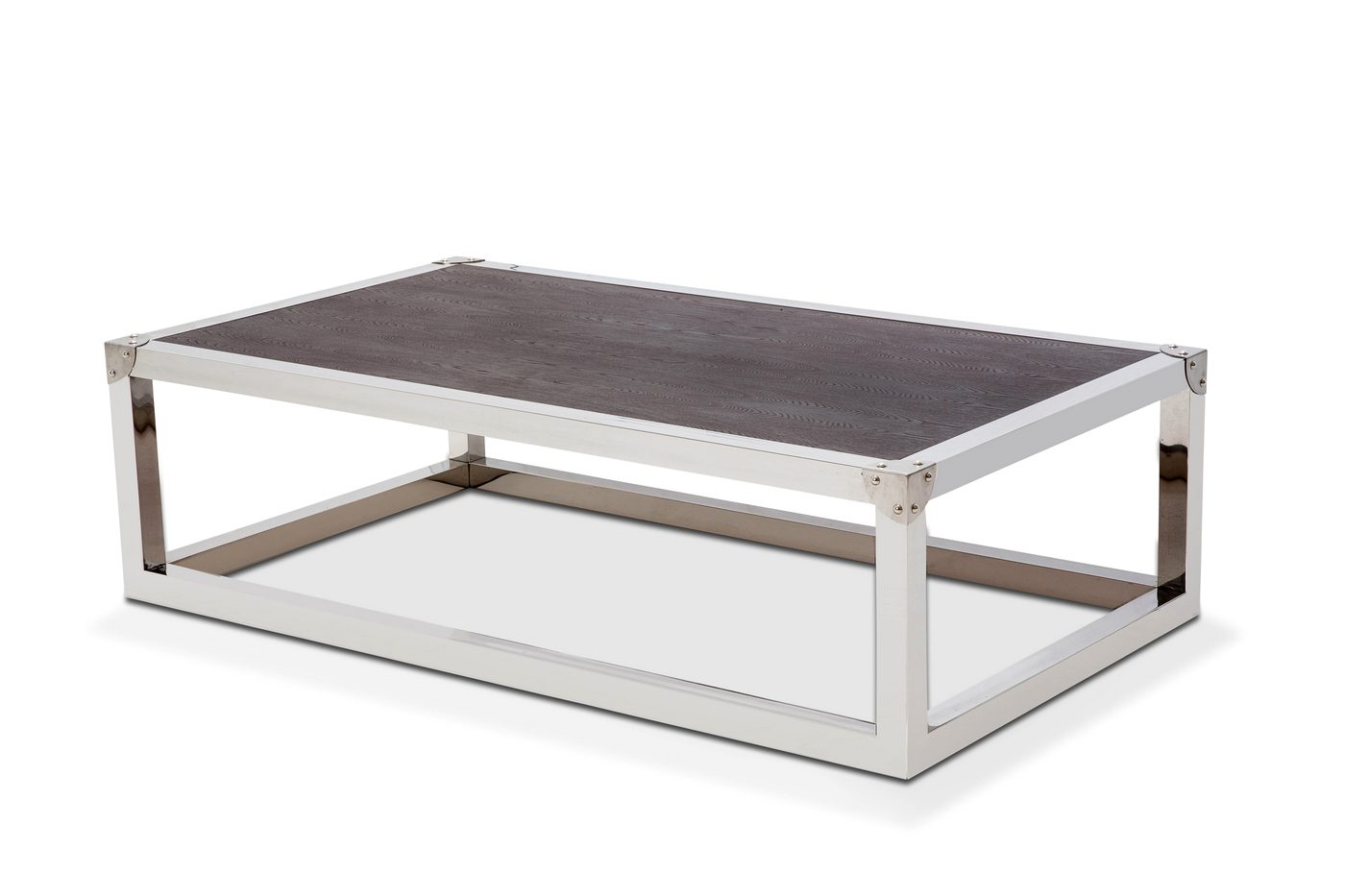 Salvatore Stainless Steel Coffee Table With Wood Top In
