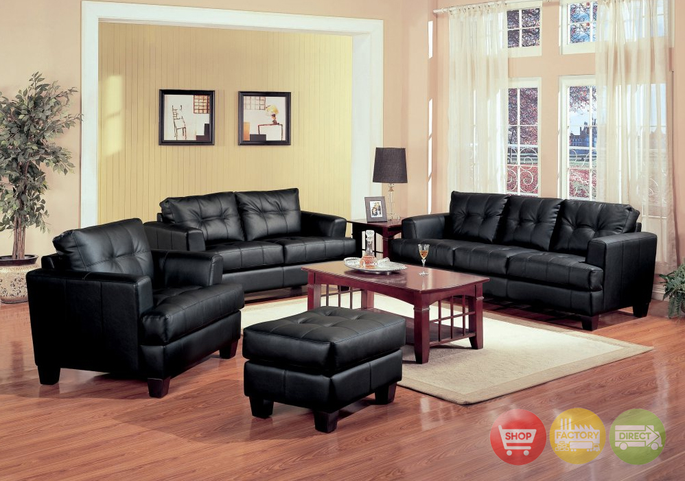 Samuel black bonded leather living room sofa and loveseat for Black living room set