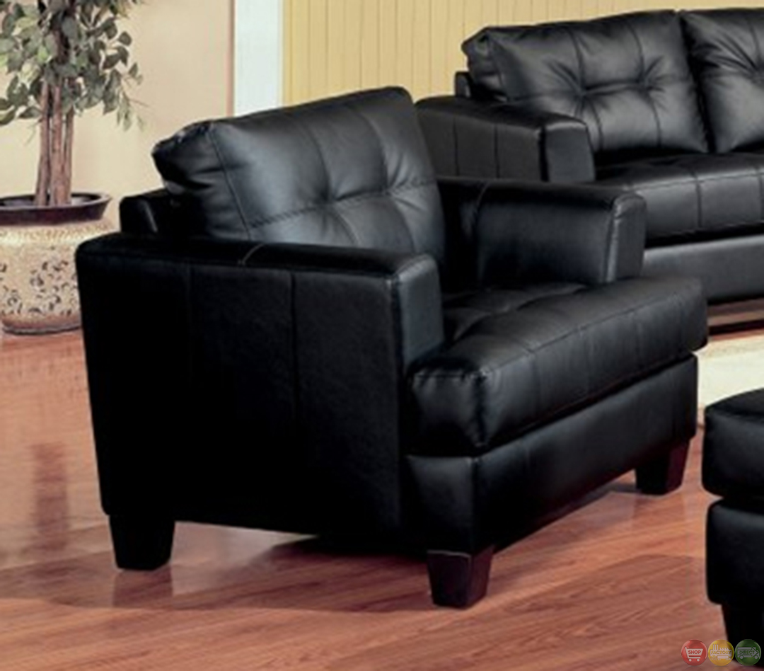 Samuel black bonded leather living room sofa and loveseat for Leather sofa and loveseat set