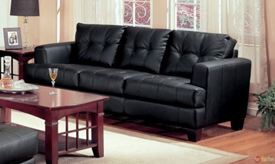 Samuel black bonded leather living room sofa and loveseat for Black living room furniture sets