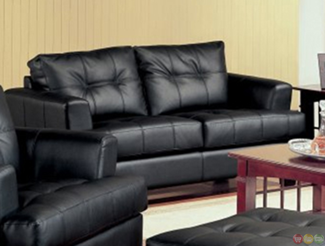 Samuel Black Bonded Leather Living Room Sofa And Loveseat Set Living Room Furniture Shop Factory
