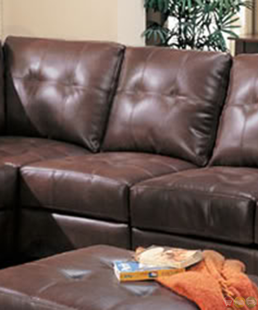 Samuel Brown Bonded Leather Sectional Sofa Contemporary L