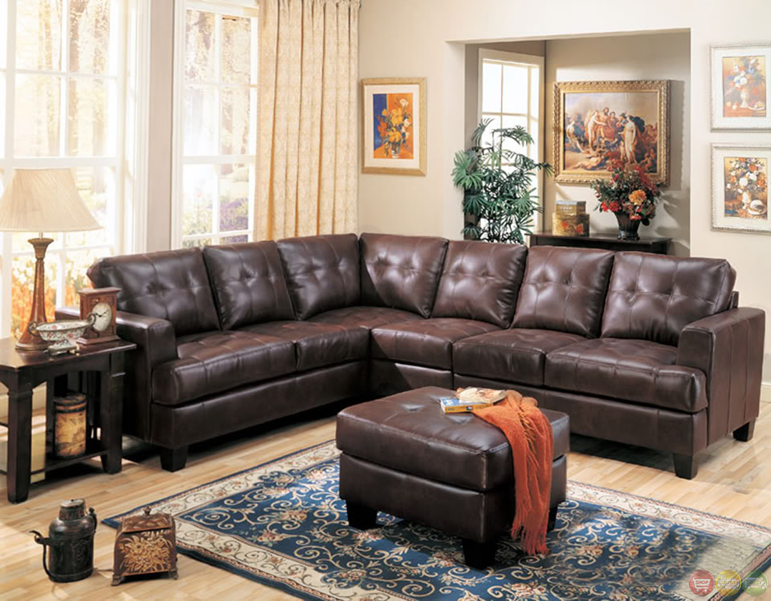 Samuel brown bonded leather sectional sofa contemporary l for Leather sectional sofa