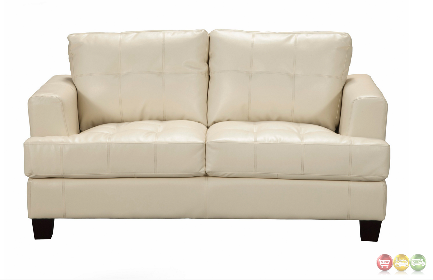 Samuel Contemporary Cream Leather Button Tufted Loveseat