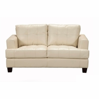 Samuel Contemporary Cream Leather Button Tufted Loveseat 501692