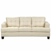 Samuel Contemporary Cream Leather Button Tufted Sofa Coaster 501691