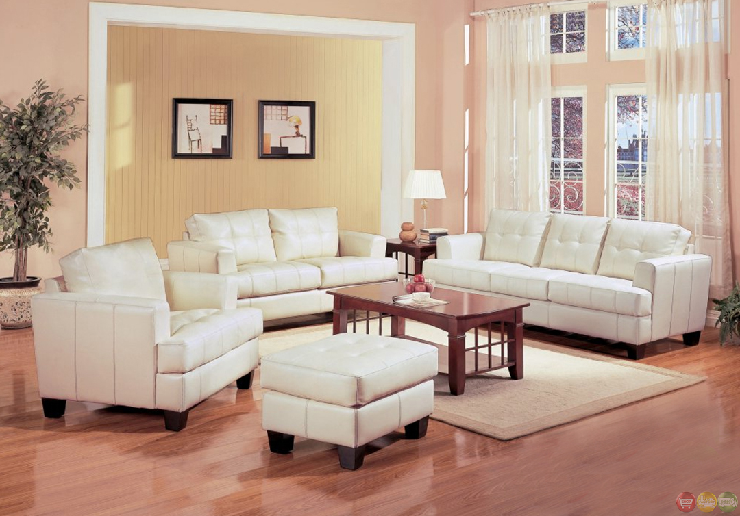 Samuel cream bonded leather living room couch and loveseat - Living room with cream leather sofa ...
