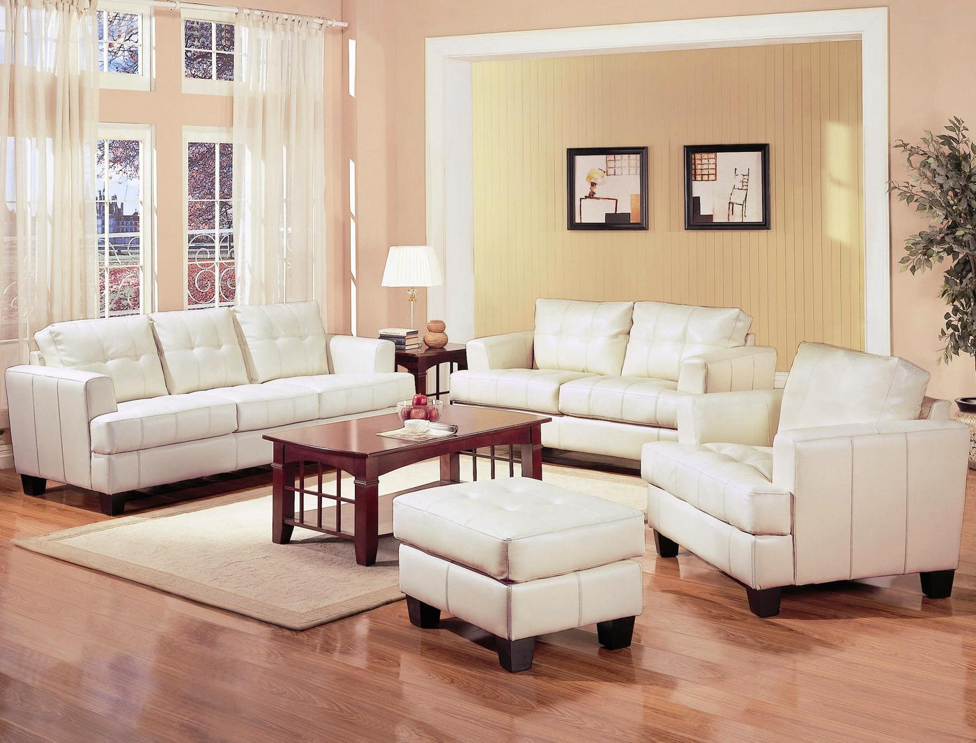 Bryce white italian leather sofa and loveseat 15814565 overstock -  Leather Sofa Shopfactorydirect Com
