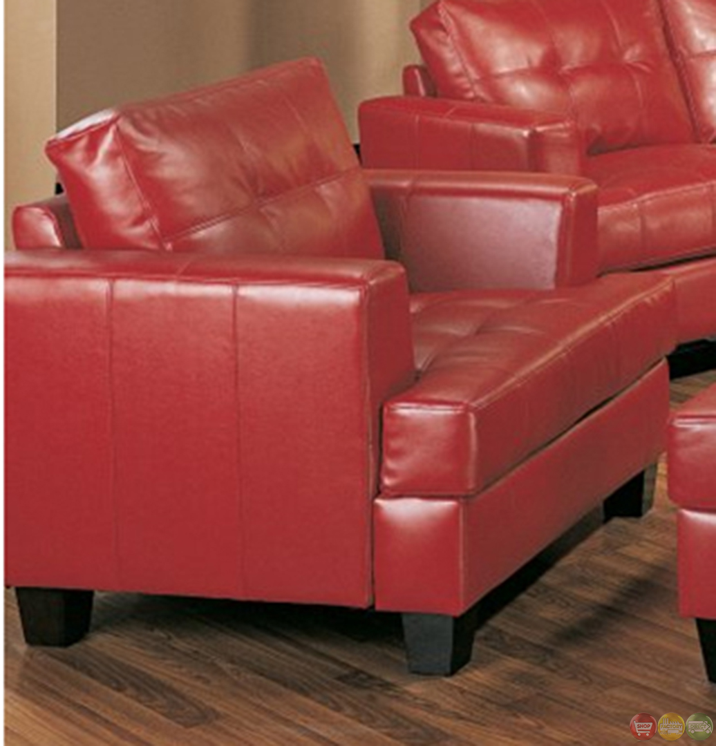 Samuel Sofa Red Bonded Leather Sofa Set Shop Factory