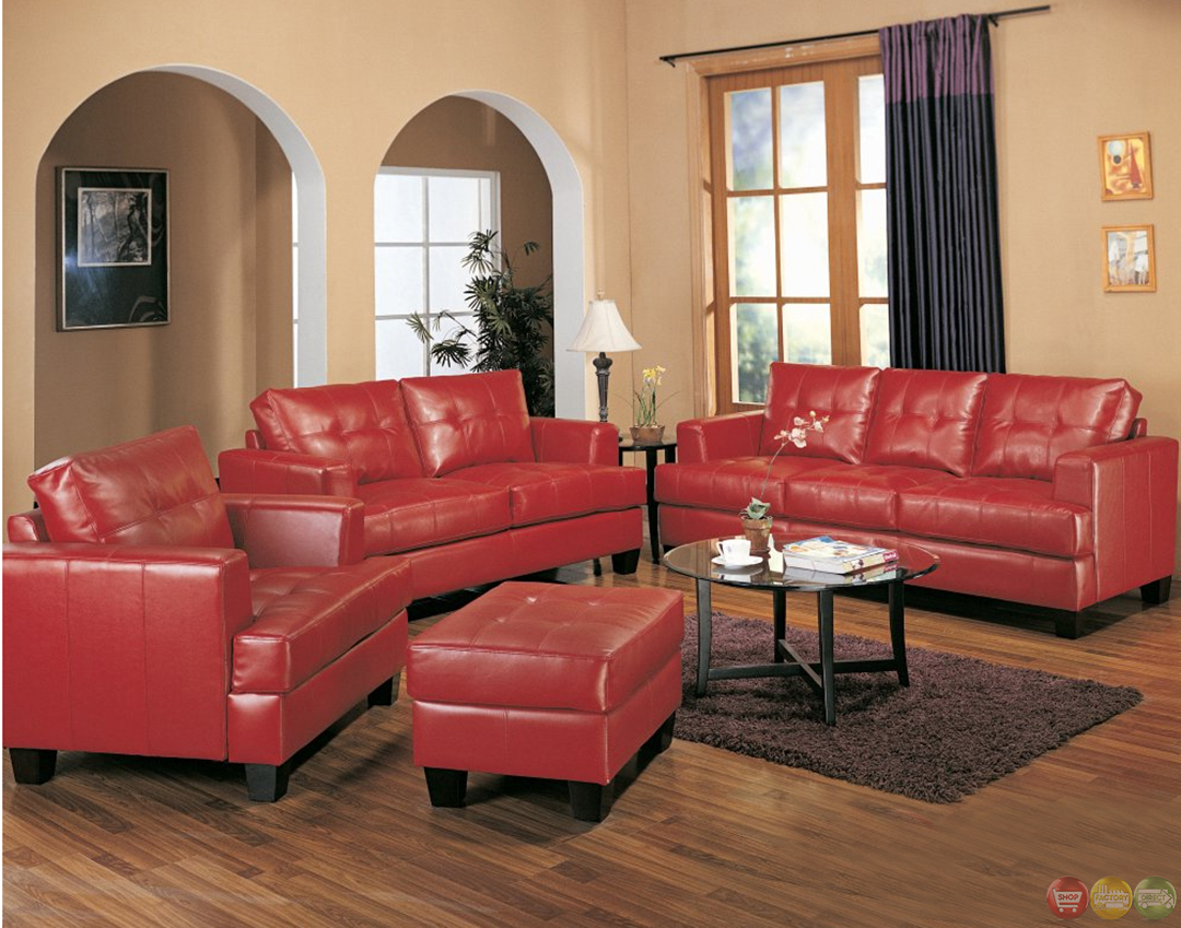 Samuel red bonded leather sofa and love seat living room set Living room sofa set