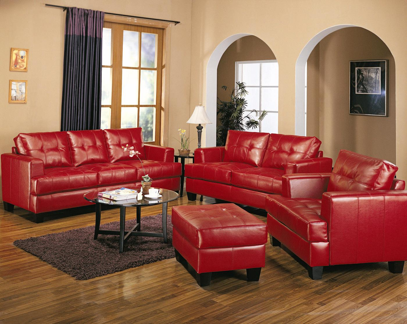 Samuel red bonded leather sofa and love seat living room set - Leather furniture for small living room ...