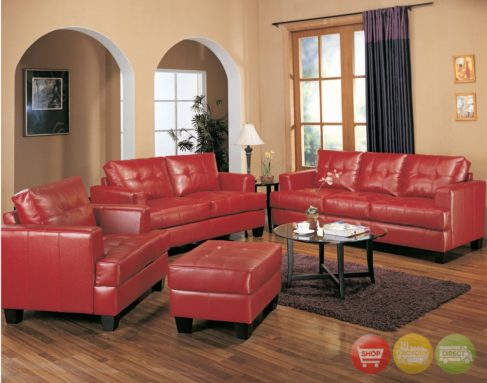 Samuel red bonded leather sofa and love seat living room set for Leather living room furniture
