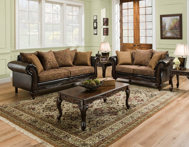 San Marino Traditional Living Room Set w/ Wood Trim & Accent Pillows