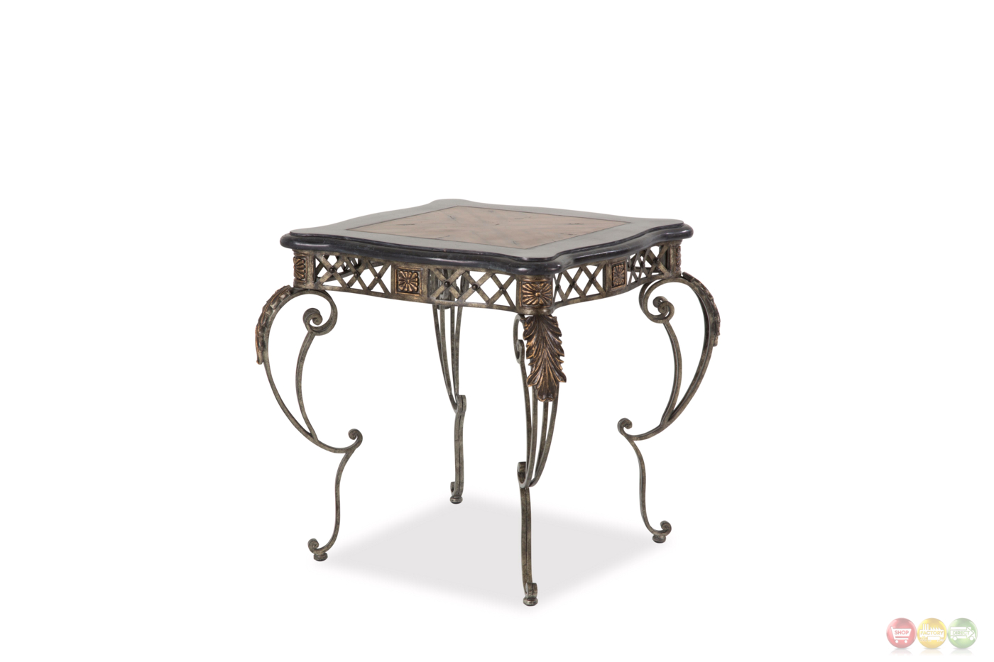 Sanchez traditional end table with wood top decorative metal base - Decorative metal table bases ...