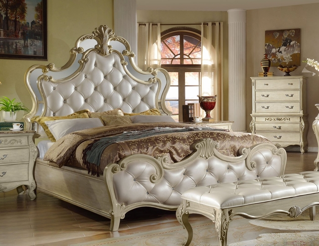 Sanctuary Antique White King Bed With Crystal Tufted Headboard