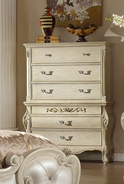 Sanctuary Ornate French 5-Drawer Chest In Antique White