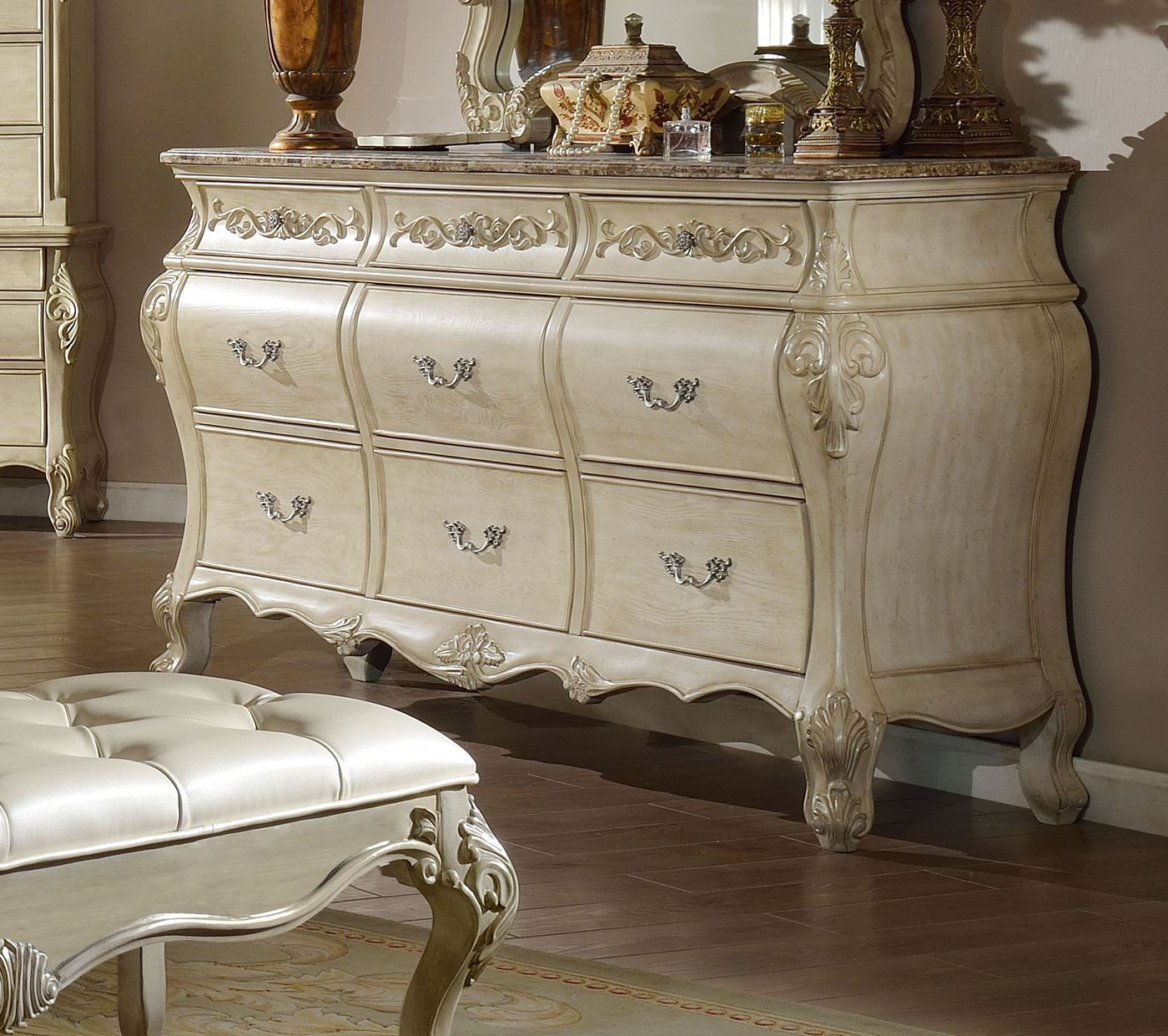 Sanctuary Ornate French 7 Drawer Marble Top Dresser In Antique White