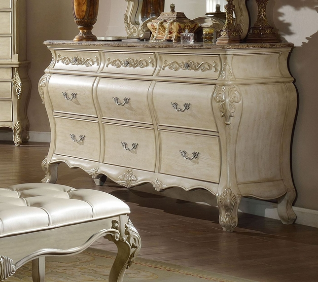 Sanctuary Ornate French 7-Drawer Marble Top Dresser In Antique White