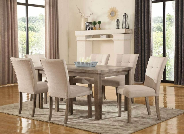 """Sanders Reclaimed Grey 5-pc 60"""" Dining Set W/ Weathered Faux Wood Finish"""