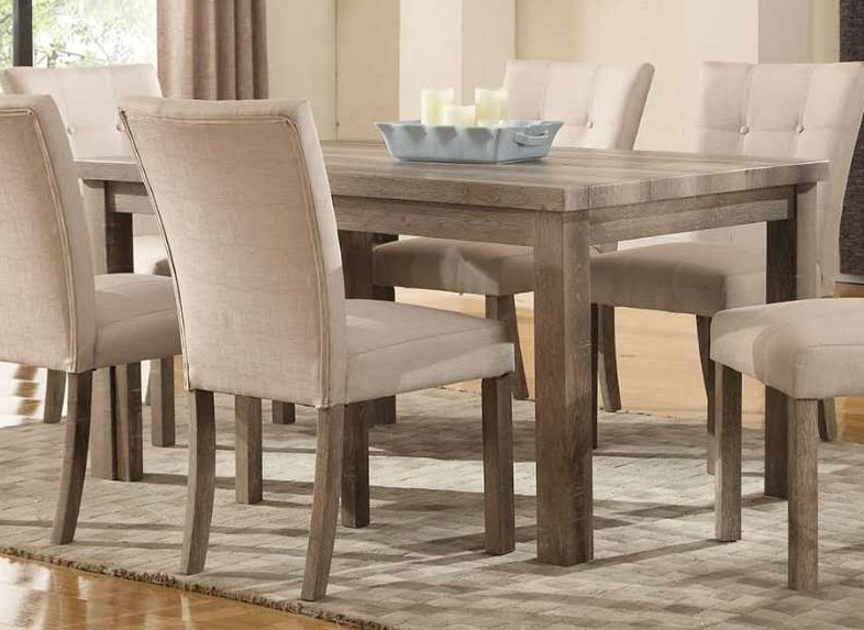 "Grey Wood Dining Room Table: Sanders Reclaimed Grey 60"" Dining Table With A Weathered"