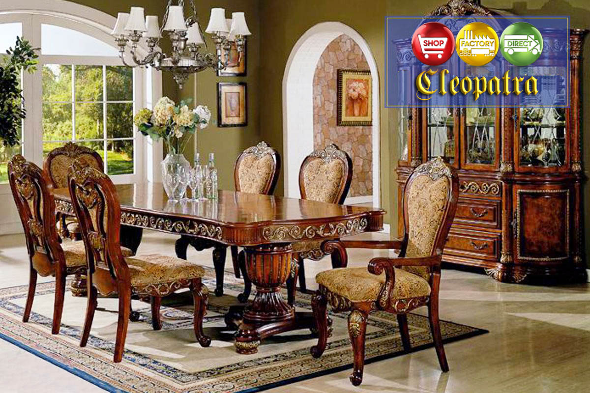 Cleopatra ornate traditional cherry formal dining room for Formal dining room tables