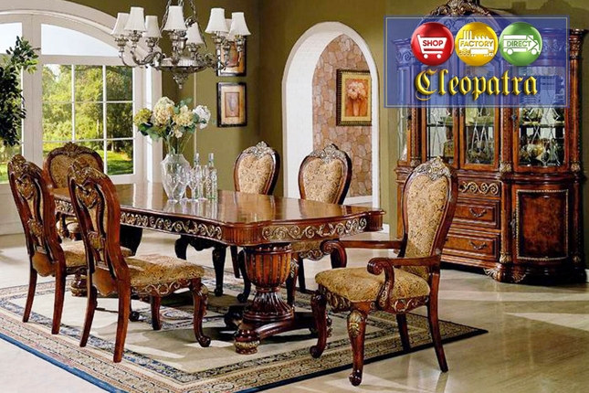 Ornate Traditional Cherry Formal Dining Room Furniture Set
