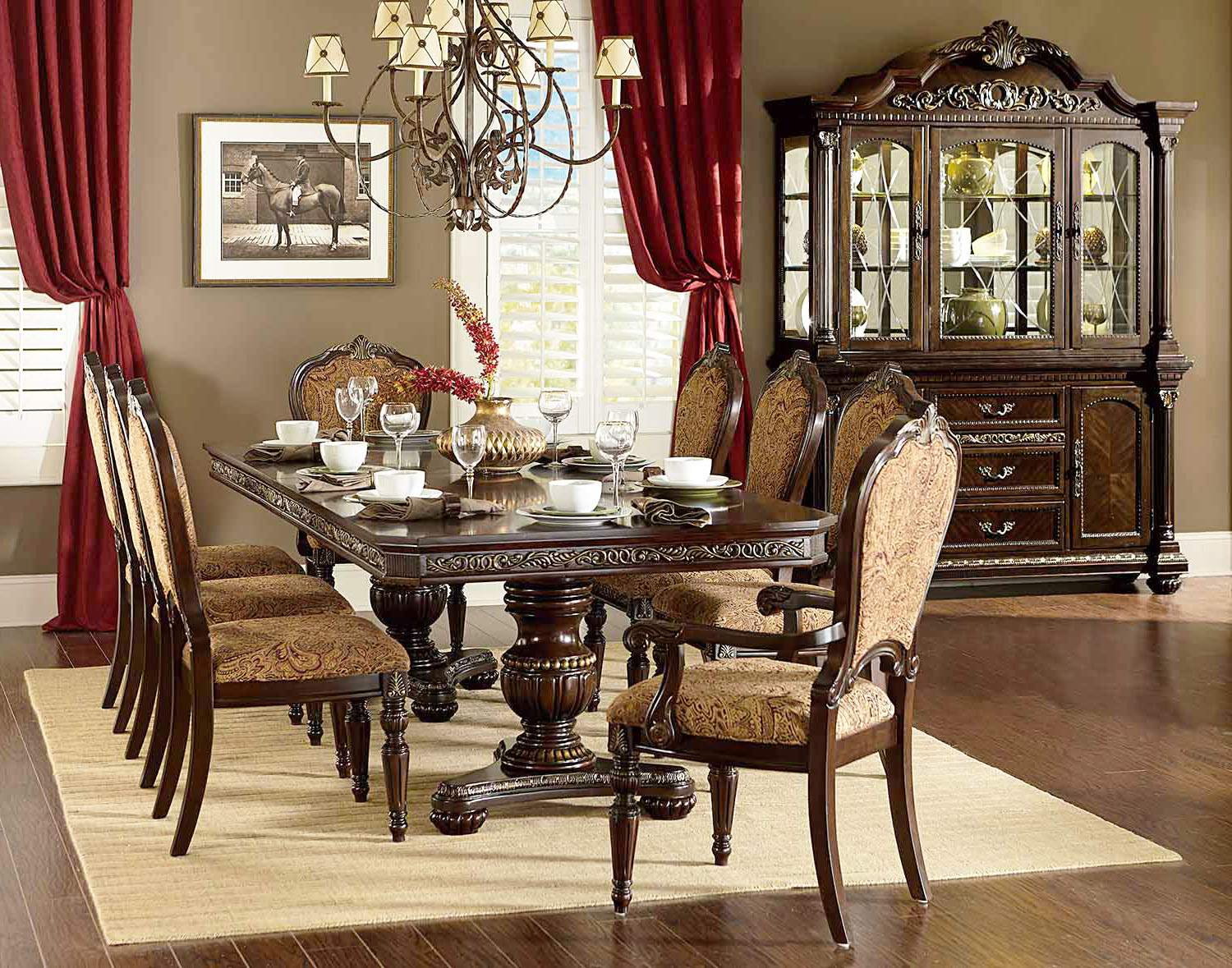 Cleopatra ornate traditional cherry formal dining room for Cherry dining room set