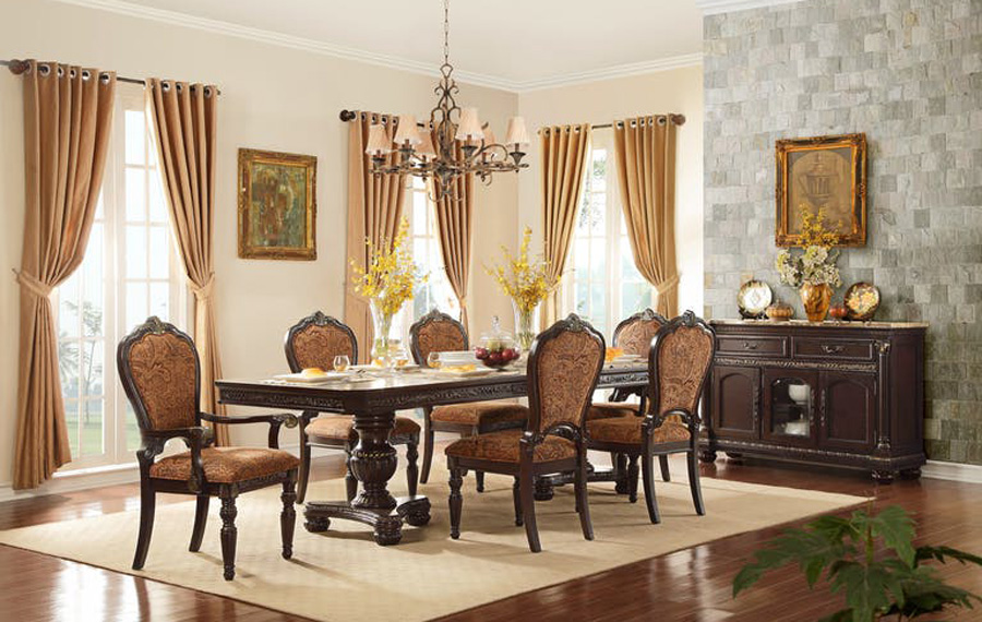 Cleopatra ornate traditional cherry formal dining room for Cherry formal dining room sets