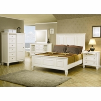 Sandy Beach White Panel Bedroom Furniture Set Coaster 201301