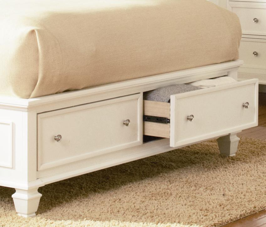 Sandy Beach White Wood Storage Sleigh Bed Bedroom Set Free Shipping
