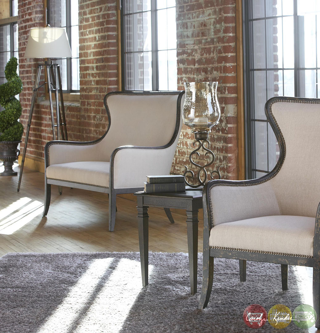 Sandy Exposed Wood Frame Sandy White Fabric Loveseat