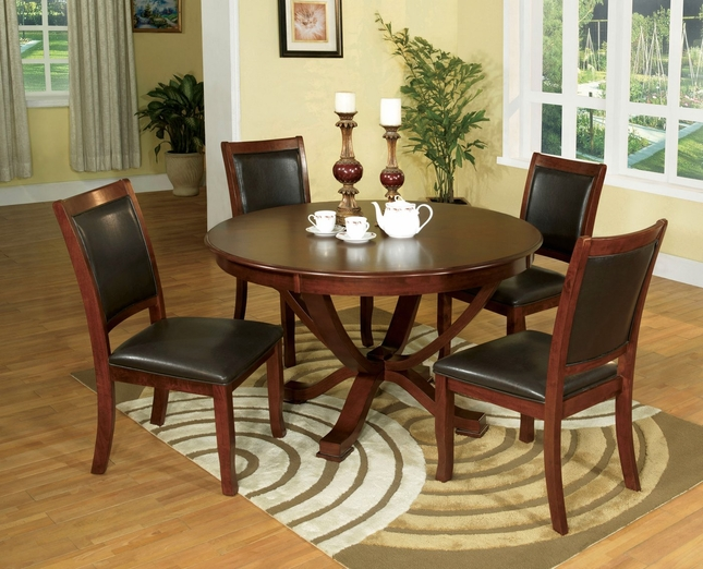 Sandy Point Transitional Brown Cherry Casual Dining Set with Leatherette Seat