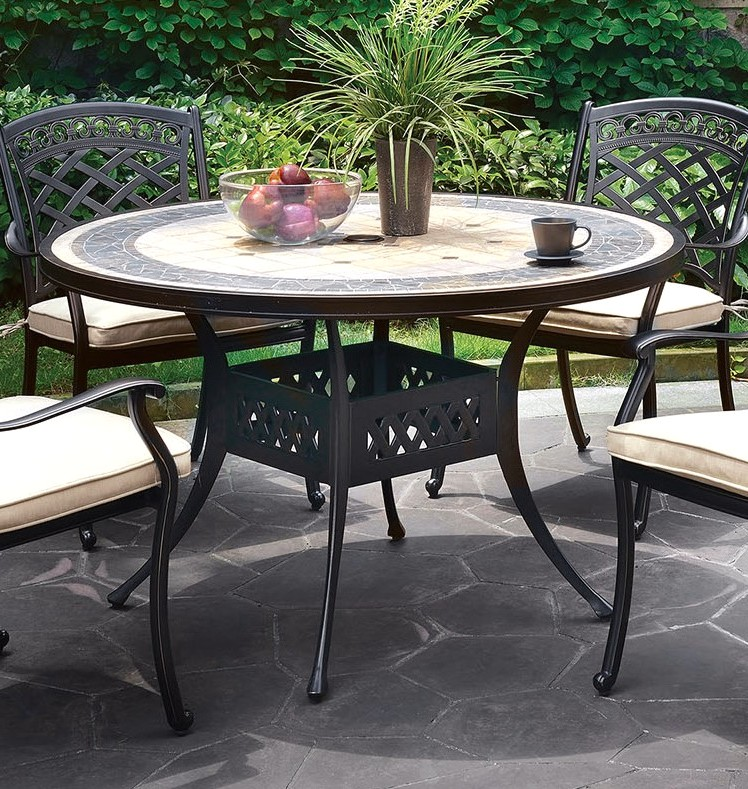 Sanibel 49 Quot Round Outdoor Concrete Top Dining Table In