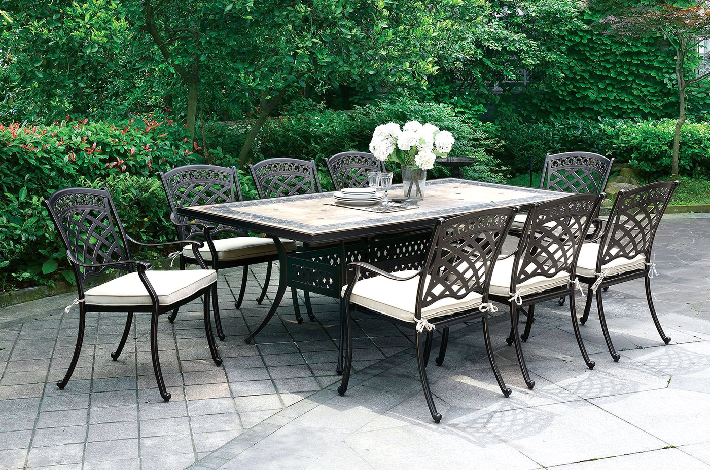 Sanibel casual 7 pc mosaic outdoor 85 5 dining table set for 85 dining table