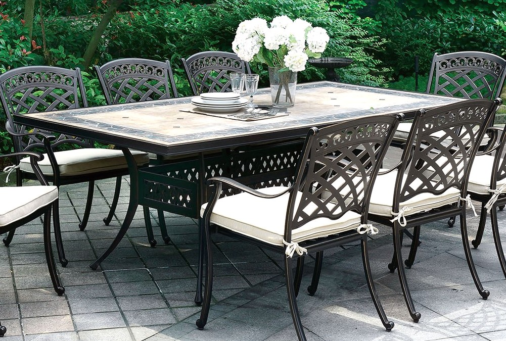 sanibel casual 85 5 outdoor dining table w mosaic top in antique black. Black Bedroom Furniture Sets. Home Design Ideas