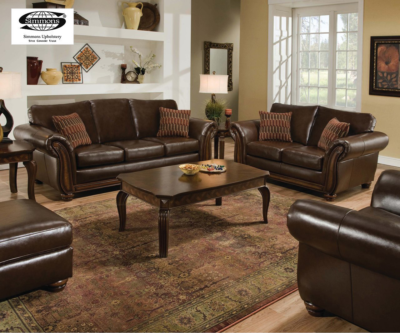 Santa monica traditional bonded leather living room for Traditional living room furniture