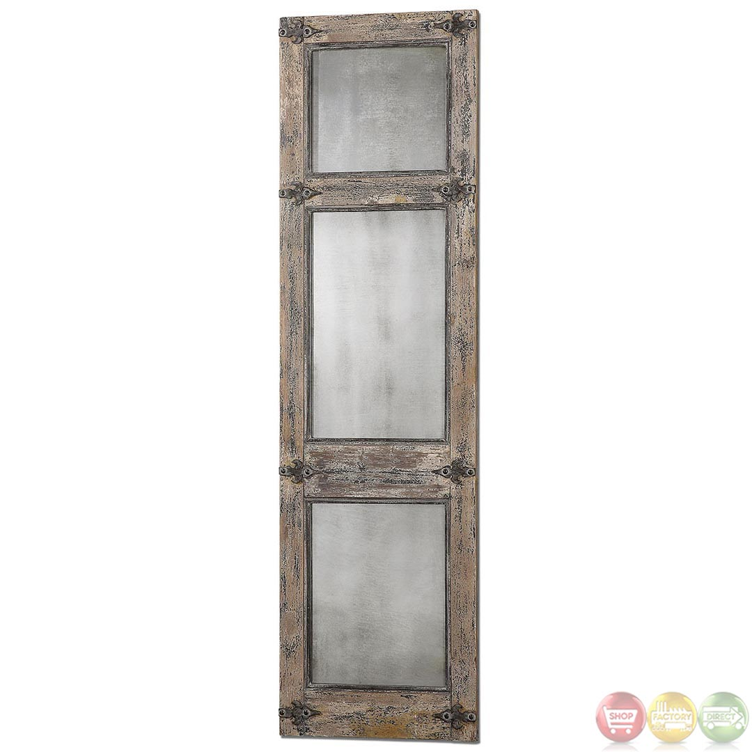 Saragano distressed leaner mirror w rustic hardware for Leaner mirror