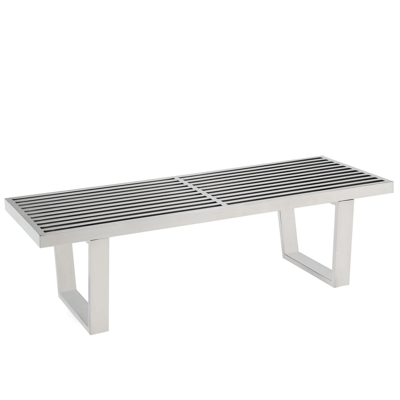 Sauna contemporary slatted stainless steel bench silver