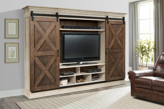 barn door entertainment center Savannah 5 Piece Sliding X Barn Door Entertainment Center in  barn door entertainment center