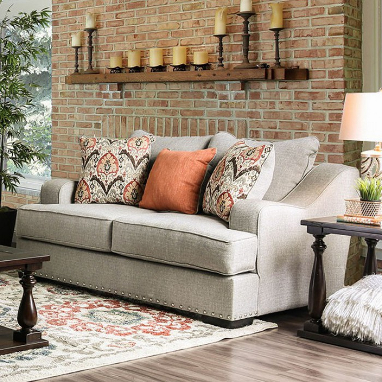 Savannah Transitional Sloped Arms Light Grey Sofa Set With