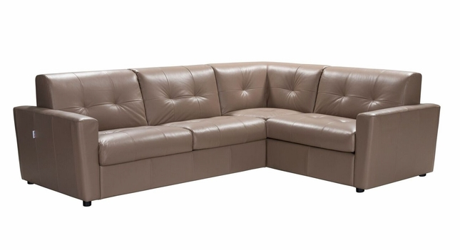 Savino Contemporary Beige Italian Leather Sectional Sofa w/ Sleeper in Taupe Leather