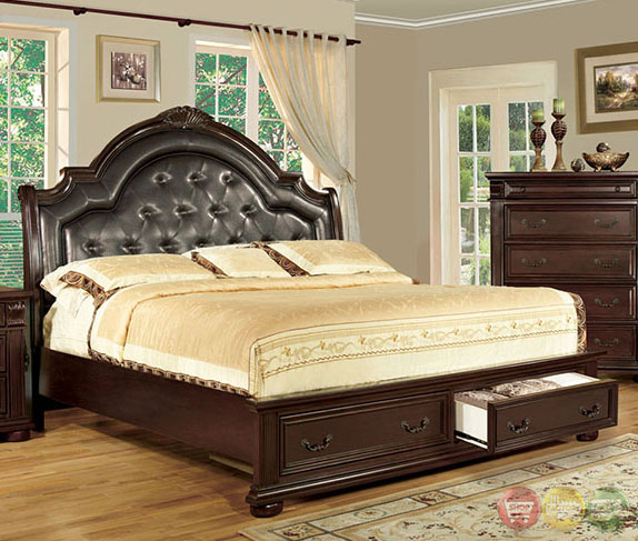 Scottsdale Luxurious English Brown Cherry Platform Storage Bedroom Set With Padded Leatherette