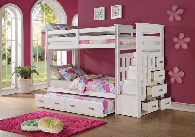 Scranton Kids Twin/ Twin White Storage Bunk Bed with Steps & Trundle