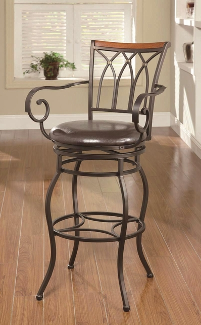 Scrolled Arm Faux Leather Black Padded Seat Bar Chair