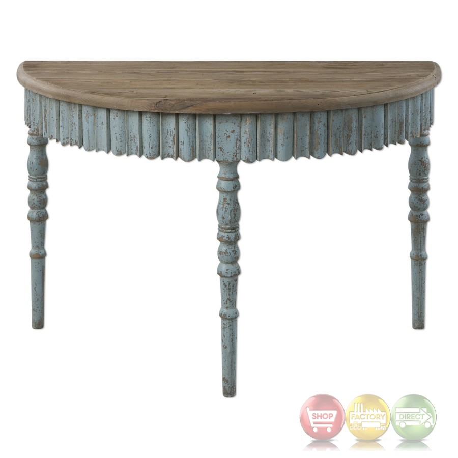 Seamus French Country Wood Console Table With Hand Turned