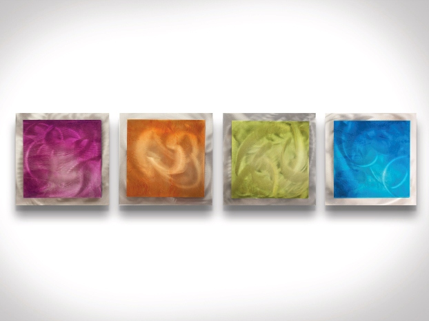 Seasonal Essence Set of 4 Rainbow Color Metal Wall Art L0016