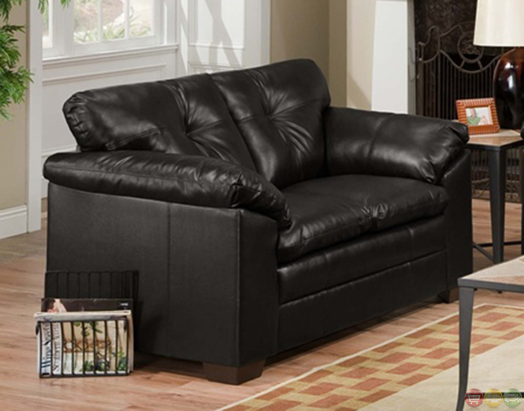 Sebring Back Black Bonded Leather Sofa and Loveseat Set