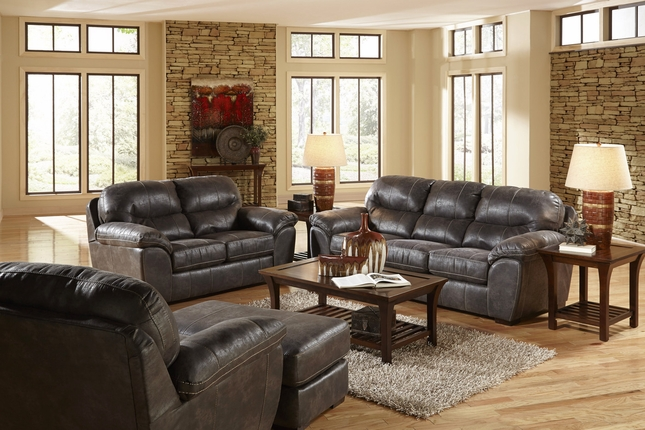 4453 Grant Steel Sofa and Loveseat in Bonded Leather with Nu-Buck Feel