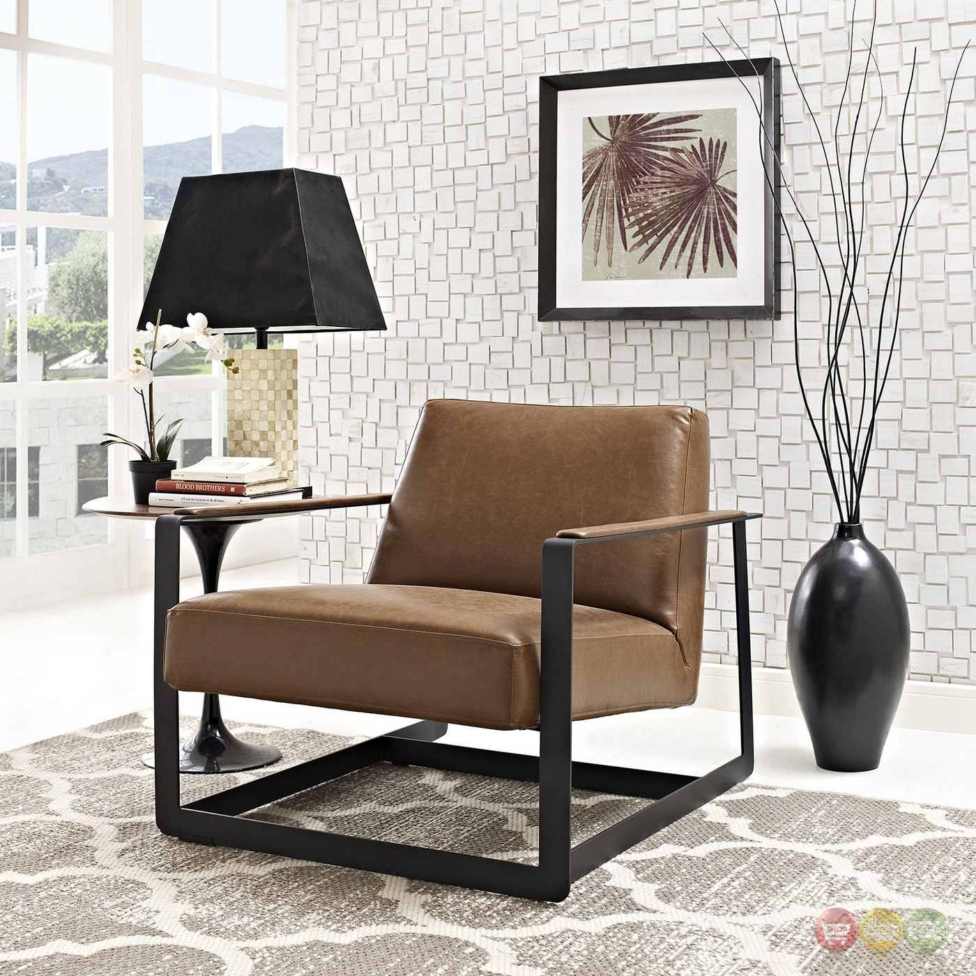 Seg Contemporary Vinyl Upholstered Accent Chair With Steel